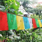 10pcs Tibet Shining Golden Words Tara bouddhiste écritures drapeaux délicate Impression colorée en soie drapeaux de prière avec 5couleurs Drapeau de la marque Dollbling image 5 produit
