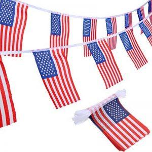 100 Drapeaux de Banderoles Américains Chaîne de Bannière États-Unis Drapeaux Étoiles et Rayures pour le 4 Juillet, Jour Anniversaire, Jour de Vétérans, Jour de l'Indépendance, Fête du Travail, Décorations de Jour de Drapeau de la marque Jovitec image 0 produit