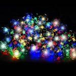 100 Guirlandes Solaires LED en Forme de Fleur Multicolores - Eclairages Extérieur Energie Solaire Imperméable - Lampes Solaires du Jardin / Lanterne Externe avec Intégré Nuit Capteur, Ficelle et Piquet - Lumières de fée Solaire Alimenté pour Noël, De Plei image 1 produit