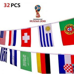 2018 Coupe du Monde de la FIFA 32 Teams Flag Flag 14x21 cm Décoration pour Sports Club, Bar, Fanning Grand String Fanants de la marque Hemore image 0 produit