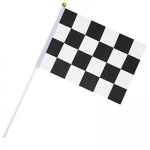 24 Pièces Drapeau à Damier 8 x 5,3 Pouces Drapeaux de Polyester de Course avec Bâton en Plastique de la marque Pangda image 0 produit