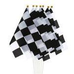 24 Pièces Drapeau à Damier 8 x 5,3 Pouces Drapeaux de Polyester de Course avec Bâton en Plastique de la marque Pangda image 2 produit
