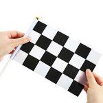 24 Pièces Drapeau à Damier 8 x 5,3 Pouces Drapeaux de Polyester de Course avec Bâton en Plastique de la marque Pangda image 3 produit
