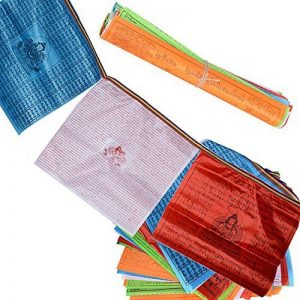 (34 x 34cm)40 Fuilles Drapeaux de Prière de 7M Bouddiste Tibétain Décoration Jardin Bouddha(20 Fuilles et 7M par chaque Rouleau) de la marque DEOMOR image 0 produit