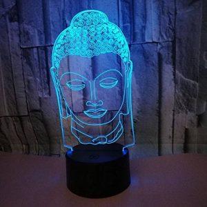 3D Statue de Bouddha LED Lampe Art Déco Lampe la Couleur Changeant Lumières LED Décoration Décoration Maison Enfants Meilleur Cadeau Lumière Touch Control 7 Couleurs Change USB Lampes Bureau Powered de la marque HPBN8 image 0 produit