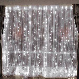 3x3M Rideau de Lumières, 8 Modes d'éclairage avec Fonction de Mémoire, 304 LEDs Lumières Décoration pour Jardin Maison Fête Noël Soirée Mariage, [Prise EU 31V DC] de la marque HanLuckyStars image 0 produit