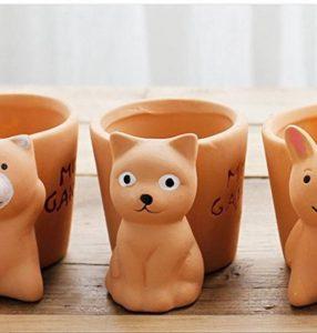 5cinq Pots de fleurs Terre cuite Rouge animaux Intérieur Desk Mini Flesh Pots de fleurs & # nitrure; Ours et Carbide PCB;, Red, cat de la marque 5Five image 0 produit