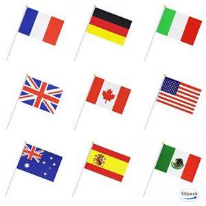 50Pays International Monde Drapeau de bâton, Hand Held Petite Mini National drapeaux bannières sur bâton, décorations de fête pour Parades, olympiques, coupe du monde de football, bar, l'école, les événements sportifs, festival de célébrations de la marq image 0 produit