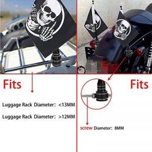 6''x9'' Drôle Tête de Mort Drapeau + 13'' Mât Pour Porte-bagages Harley Kawasaki de la marque BOXWELOVE image 0 produit