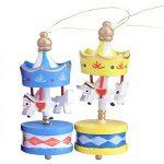 6Pcs/set Boîte À Musique en bois Carousel Cheval Vintage Mini pendentif en sapin de Noël Cadeau d'anniversaire Noël pour enfants de la marque Yosoo image 2 produit