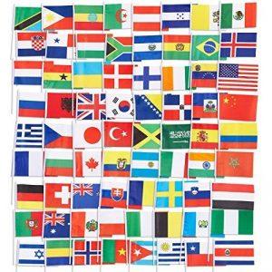 72-pack du Pays des drapeaux–International drapeaux du monde, décorations de fête, 72Pays différents, couleurs assorties, 19,1x 13,2cm de la marque Juvale image 0 produit