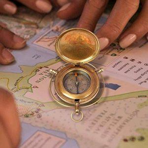 aheli faite à la main en laiton à bouton poussoir Boussole Marine Laiton appareils Poche nautique Instrument de navigation de la marque aheli image 0 produit