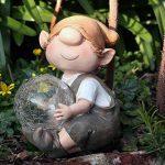Andy la boule lumière à énergie solaire pour décoration de jardin en résine avec changement de couleur Elfe, Fée, Troll, jardin imp de la marque Garden Animals Collection image 4 produit