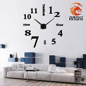 Angke moderne Mute DIY Grande horloge murale 3d Autocollant Home Office Décor Cadeau Noir de la marque Angke image 0 produit