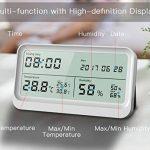 AngLink Thermomètre Hygromètre interieur à Grand Écran LCD 16:9 Température Humidité avec Fonction Horloge et Calendrier pour Maison ou Bureau de la marque AngLink image 3 produit