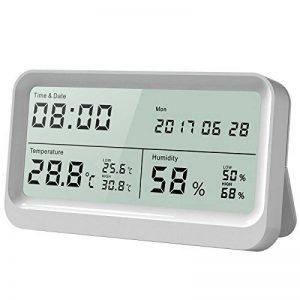 AngLink Thermomètre Hygromètre interieur à Grand Écran LCD 16:9 Température Humidité avec Fonction Horloge et Calendrier pour Maison ou Bureau de la marque AngLink image 0 produit