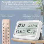 AngLink Thermomètre Hygromètre interieur à Grand Écran LCD 16:9 Température Humidité avec Fonction Horloge et Calendrier pour Maison ou Bureau de la marque AngLink image 4 produit