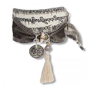 anisch de la Cara Désir–Bracelet Femme–WIND norbu–Agate Prière tibétain Drapeau Blanc, TA de coupe-vent norbu de la marque Anisch de la Cara image 0 produit