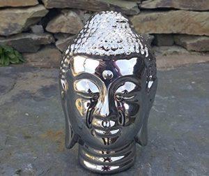 Argent Chromé Tête de Bouddha sculpture en intérieur ou extérieur jardin maison de la marque Home and Garden Products image 0 produit