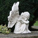 assis Fée avec tête allongé sur ses genoux 26cm Ange Jardin Ornement Statue Sculpture commémorative Effet pierre de la marque UKM image 2 produit