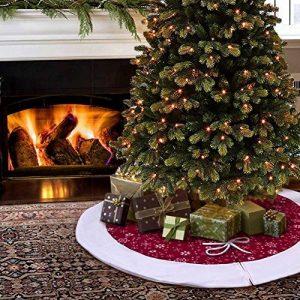 Aytai 122cm arbre de Noël jupe Bourgogne et blanc flocon de neige arbre jupe décorations de Noël vacances nouvel an Party Supply de la marque Aytai image 0 produit