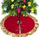 Aytai Rouge Jupe de sapin de Noël 90 cm, Unique Doré à volants Edge, DE Décorations pour Noël Décoration de vacances de la marque Aytai image 4 produit