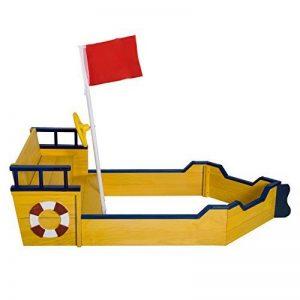 Bac à sable bateau de pirate en bois jeu de plein air 158L x 78l x 46H cm jaune bleu 22 de la marque Homcom image 0 produit