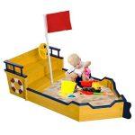 Bac à sable bateau de pirate en bois jeu de plein air 158L x 78l x 46H cm jaune bleu 22 de la marque Homcom image 1 produit