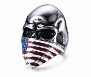 Bague Biker Homme Tête De Mort Crane Bijoux Rock And Roll Harley Davidson En Acier US Drapeau Américain de la marque Espritshopping® image 0 produit