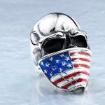 Bague Biker Homme Tête De Mort Crane Bijoux Rock And Roll Harley Davidson En Acier US Drapeau Américain de la marque Espritshopping® image 2 produit