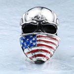 Bague Biker Homme Tête De Mort Crane Bijoux Rock And Roll Harley Davidson En Acier US Drapeau Américain de la marque Espritshopping® image 3 produit