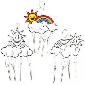 Baker Ross Carillons Attrape-Soleils Arc-en-Ciel Effet Vitrail que les Enfants pourront Peindre, Suspendre et Exposer (Lot de 4) de la marque Baker Ross image 0 produit