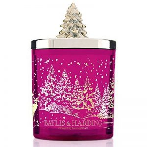 Baylis & Harding Festive Bougie parfumée dans son pot en verre avec couvercle en sapin de Noël, Parfum figue et grenade de la marque Baylis & Harding image 0 produit