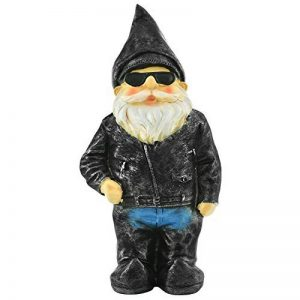 Biker Nain de Jardin - figurine originale avec blouson en cuir de motard de la marque Gnome image 0 produit