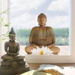 Bilderwelten Autocollant de fenêtre en bois Lotus Bouddha Window film fenêtre fenêtre de verre Sticker Art fenêtre Décor Décoration de fenêtre fenêtre Photo, dimensions: 107x 80–35.00 de la marque Bilderwelten image 1 produit