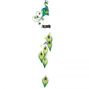 Bits and Pieces Embouts et Pièces–Coloré Paon Wind Chimes–Sculpture en Métal et en Verre à Suspendre et Carillon–Ajoutez Musical Charm à N'importe Quel Espace extérieur de la marque Bits and Pieces image 0 produit