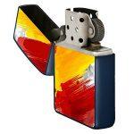 BJJ Briquet bleu, briquet à essence avec design: Drapeau de l'Espagne, pinceau sur fond abstrait de la marque BJJ image 1 produit
