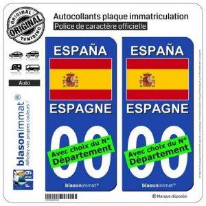 blasonimmat 2 Stickers autocollant plaque immatriculation auto : Espagne - Drapeau de la marque blasonimmat image 0 produit