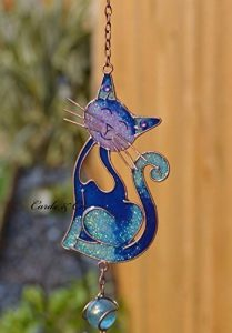 Blue Glass Stained Smiling Cat Hanging Suncatcher mobile Wind Chime Garden Home de la marque Hunky Dory Gifts image 0 produit