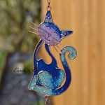 Blue Glass Stained Smiling Cat Hanging Suncatcher mobile Wind Chime Garden Home de la marque Hunky Dory Gifts image 1 produit