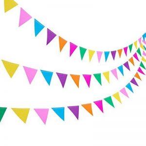 Blulu 3 Paquets Bannière Papier Bannière Drapeau Bannière Triangle 11,5 Pieds Party Bunting Hanging Decorations pour l'Anniversaire de Mariage Décoration de la Maison de la marque Blulu image 0 produit