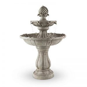 Blumfeldt Springbrunnen Fontaine solaire à oiseaux (style romantique baroque, 2 étages de bassins 30 et 60 cm, panneau solaire 3W, 250L/H, autonomie 8 heures) de la marque Blumfeldt image 0 produit