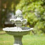 Blumfeldt Springbrunnen Fontaine solaire à oiseaux (style romantique baroque, 2 étages de bassins 30 et 60 cm, panneau solaire 3W, 250L/H, autonomie 8 heures) de la marque Blumfeldt image 3 produit