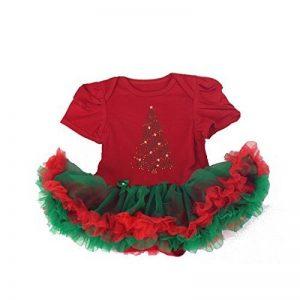 Body à froufrou spécial fête de Noël, modèle sapin strass 0/3 mois,6/9 mois,9/12 mois de la marque La panoplie Des Petits image 0 produit