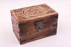 'Boîte à Trésor celtique, boîte cadeau en bois de palissandre massif, avec motif sculpté, 23x 15x 15cm de la marque Kunstversteck image 0 produit