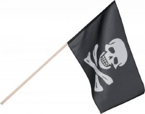 Boland 74163 Drapeau de pirate, 45x 30cm, avec bâton, noir/blanc de la marque Boland image 0 produit