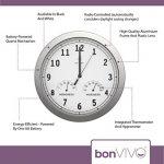 bonVIVO TIMERIDER - Horloge murale radio-pilotée ultra-précise, pendule murale aluminium pour salon/cuisine/bureau, avec thermomètre et hygromètre intégrés - 30,5 cm de la marque BonVivo image 3 produit