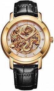 BOS 'Dragon Collection' Homme Luxe en cuir de vachette Band mécanique automatique Squelette Doré montre 9007 de la marque BOS image 0 produit