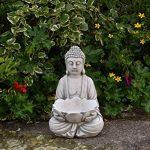 Bouddha massif en pierre avec fleur de lotus, Décoration de jardin, résistant au gel de la marque gartendekoparadies.de image 1 produit