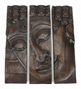 Bouddha panneau de face, la sculpture sur bois en 3 parties Thailande - noir, 31cm de haut de la marque Farang image 0 produit